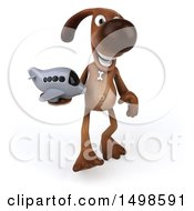 3d Brown Chocolate Lab Dog Holding A Plane On A White Background