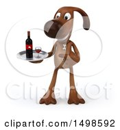 3d Brown Chocolate Lab Dog Holding A Wine Tray On A White Background