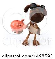 3d Brown Chocolate Lab Dog Holding A Piggy Bank On A White Background