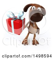 October 15th, 2017: Clipart Of A 3d Brown Chocolate Lab Dog Holding A Gift On A White Background Royalty Free Illustration by Julos