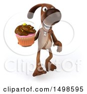 3d Brown Chocolate Lab Dog Holding A Cupcake On A White Background
