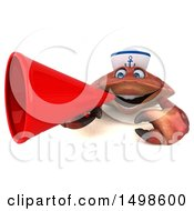 October 15th, 2017: Clipart Of A 3d Sailor Crab Using A Megaphone On A White Background Royalty Free Illustration by Julos