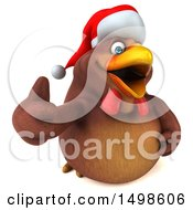 October 15th, 2017: Clipart Of A 3d Chubby Brown Christmas Chicken Giving A Thumb Up On A White Background Royalty Free Illustration by Julos