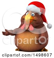 October 15th, 2017: Clipart Of A 3d Chubby Brown Christmas Chicken Presenting On A White Background Royalty Free Illustration by Julos