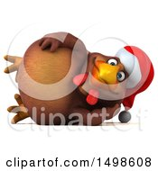 October 15th, 2017: Clipart Of A 3d Chubby Brown Christmas Chicken On A White Background Royalty Free Illustration by Julos