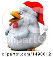 October 15th, 2017: Clipart Of A 3d Chubby White Christmas Chicken On A White Background Royalty Free Illustration by Julos