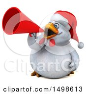 October 15th, 2017: Clipart Of A 3d Chubby White Christmas Chicken Using A Megaphone On A White Background Royalty Free Illustration by Julos