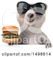 October 15th, 2017: Clipart Of A 3d Polar Bear Holding A Burger On A White Background Royalty Free Illustration by Julos