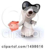 October 15th, 2017: Clipart Of A 3d Polar Bear Holding A Piggy Bank On A White Background Royalty Free Illustration by Julos