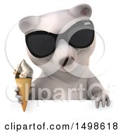 October 15th, 2017: Clipart Of A 3d Polar Bear Holding An Ice Cream Cone On A White Background Royalty Free Illustration by Julos