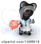 October 15th, 2017: Clipart Of A 3d Black Bear Veterinarian Or Doctor Holding A Piggy Bank On A White Background Royalty Free Illustration by Julos