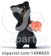 October 15th, 2017: Clipart Of A 3d Black Bear Holding A Piggy Bank On A White Background Royalty Free Illustration by Julos