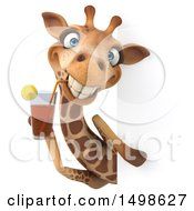 3d Giraffe Drinking A Beverage On A White Background