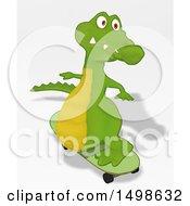 Crocodile Skateboarding On A Shaded Background