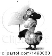 Printed Styled Dodo Bird On A White Background