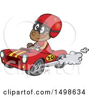 Cartoon African American Race Car Driver Boy