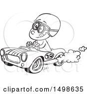 Poster, Art Print Of Cartoon Black And White Race Car Driver Boy
