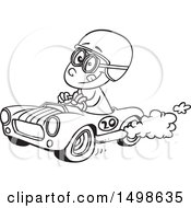Clipart Of A Cartoon Black And White Race Car Driver Boy Royalty Free Vector Illustration