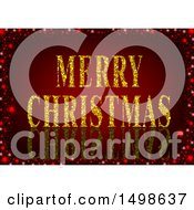 Clipart Of A Merry Christmas Greeting With Gold Glitter On Red Royalty Free Vector Illustration