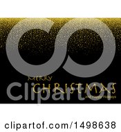 Clipart Of A Merry Christmas And Happy Holidays Greeting With Gold Glitter On Black Royalty Free Vector Illustration