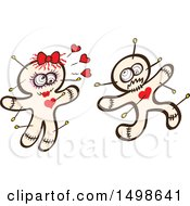 Clipart Of A Male Voodoo Doll Running From An Infatuated Female Royalty Free Vector Illustration