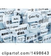Clipart Of A Background Of 3d Hellow Greeting Speech Bubble Balloons In Different Languages Royalty Free Illustration