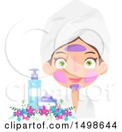 Caucasian Girl With Multiple Facial Masks On By Beauty Products And Flowers