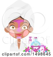 Clipart Of An African American Girl With Multiple Facial Masks On By Beauty Products And Flowers Royalty Free Vector Illustration
