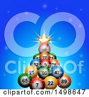 Christmas Tree Made Of 3d Colorful Bingo Or Lotter Balls Over Blue