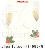 Christmas Border With Text And Holly Garnished Champagne Glasses
