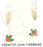 Christmas Border With Holly Garnished Champagne Glasses