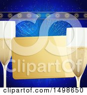 Clipart Of A Golden Card With Champagne Glasses Over Blue Royalty Free Vector Illustration