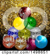 Christmas Tree Of Sparkly Colorful Disco Balls Over Gold Mosaic