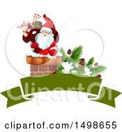 Christmas Banner With Santa In A Chimney