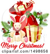 Clipart Of A Merry Christmas Greeting With A Santa Sack With Gifts And Toys Royalty Free Vector Illustration