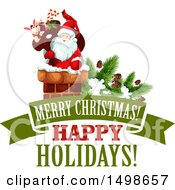 Merry Christmas Happy Holidays Banner With Santa In A Chimney