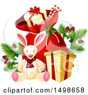 Clipart Of A Santa Christmas Sack With Gifts And Toys Royalty Free Vector Illustration