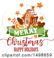 Merry Christmas Happy Holidays Greeting With A Gingerbread House Stars And Goodies