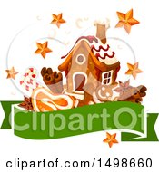 Clipart Of A Banner With A Christmas Gingerbread House Stars And Goodies Royalty Free Vector Illustration by Vector Tradition SM