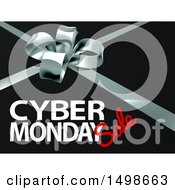 Clipart Of A Gift Bow With Cyber Monday Sale Text On Black Royalty Free Vector Illustration