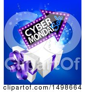 3d Marquee Arrow Sign With Cyber Monday Sale Text Springing Out Of A Gift Box