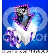 Clipart Of A 3d Marquee Arrow Sign With Cyber Monday Sale Text Over A Gift Box Royalty Free Vector Illustration by AtStockIllustration