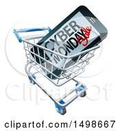 Clipart Of A 3d Smart Phone With Cyber Monday Sale Text On The Screen In A Shopping Cart Royalty Free Vector Illustration