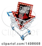 3d Marquee Arrow Sign With Cyber Monday Sale Text In A Shopping Cart