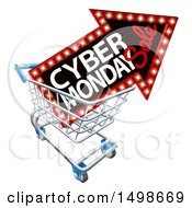 Clipart Of A 3d Marquee Arrow Sign With Cyber Monday Sale Text In A Shopping Cart Royalty Free Vector Illustration by AtStockIllustration