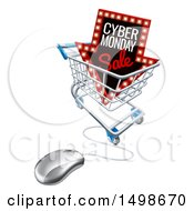 Poster, Art Print Of 3d Computer Mouse With A Marquee Arrow Sign With Cyber Monday Sale Text In A Shopping Cart