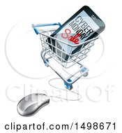 Clipart Of A 3d Computer Mouse And Smart Phone With Cyber Monday Sale Text On The Screen In A Shopping Cart Royalty Free Vector Illustration by AtStockIllustration