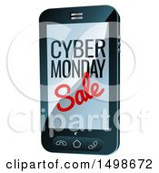 Clipart Of A 3d Smart Phone With Cyber Monday Sale Text On The Screen Royalty Free Vector Illustration by AtStockIllustration