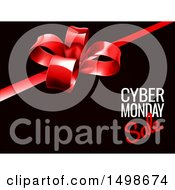 Clipart Of A Gift Bow With Cyber Monday Sale Text On Black Royalty Free Vector Illustration by AtStockIllustration