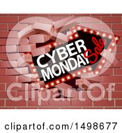 Clipart Of A 3d Marquee Arrow Sign With Cyber Monday Sale Text Breaking Through A Brick Wall Royalty Free Vector Illustration by AtStockIllustration